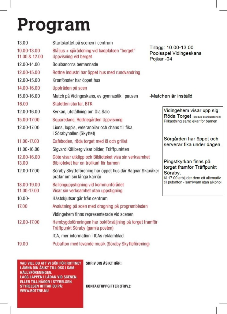 Rottnedagen 2013 Program baksida